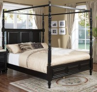 Martinique Rubbed Black Cal.King Canopy Bed With Drapes ...