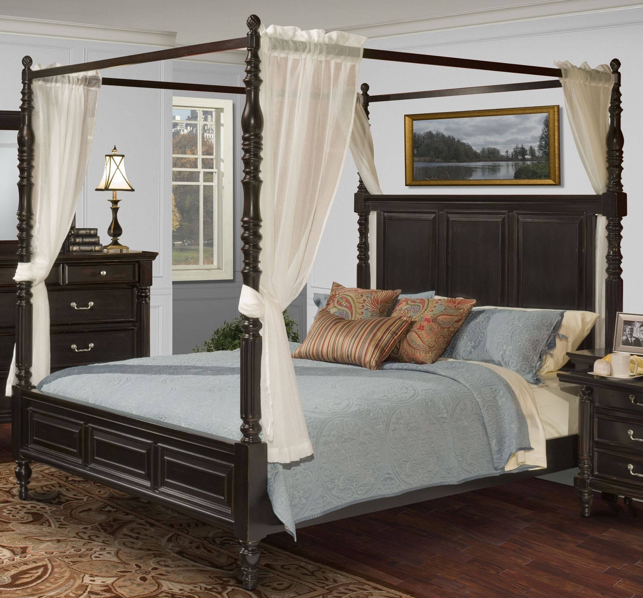 Martinique Rubbed Black King Canopy Bed With D S From