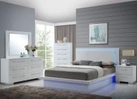 Sapphire High Gloss White Laminate Platform Bedroom Set ...
