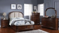 Chateaux Paix Cherry Upholstered Panel Storage Bedroom Set ...