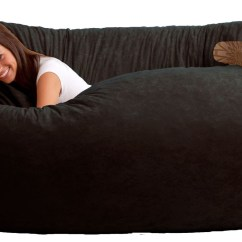 Xxl Fuf Chair Faux Leather Covers Big Joe Black Onyx Suede Comfort Bean Bag From
