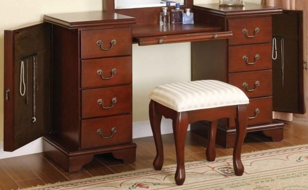 Louis Philippe Brown Vanity Desk With Stool Acme