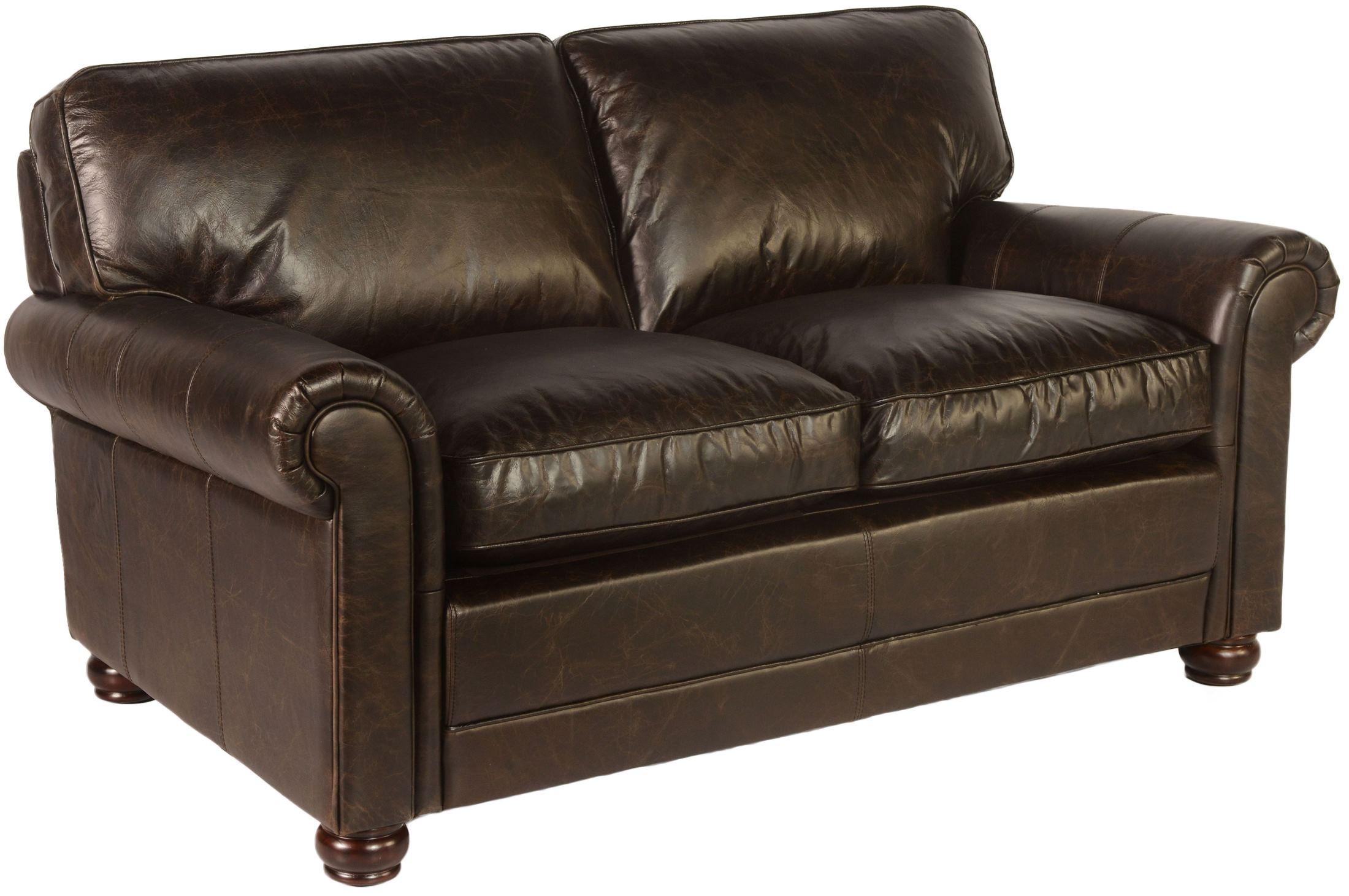 next brompton leather sofa chesterfield cuero chile genesis chocolate loveseat from lazzaro