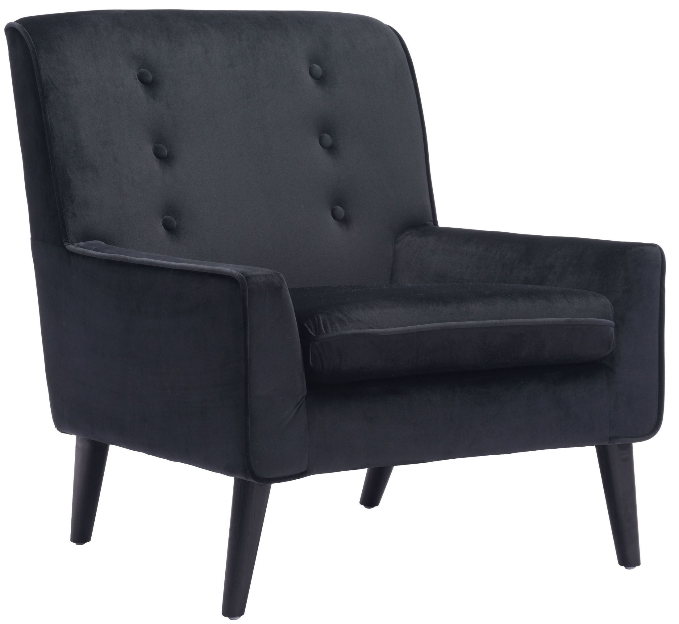 Black Velvet Chair Coney Black Velvet Arm Chair From Zuo Mod 100224