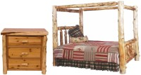 Traditional Cedar Youth Canopy Log Bedroom Set from ...
