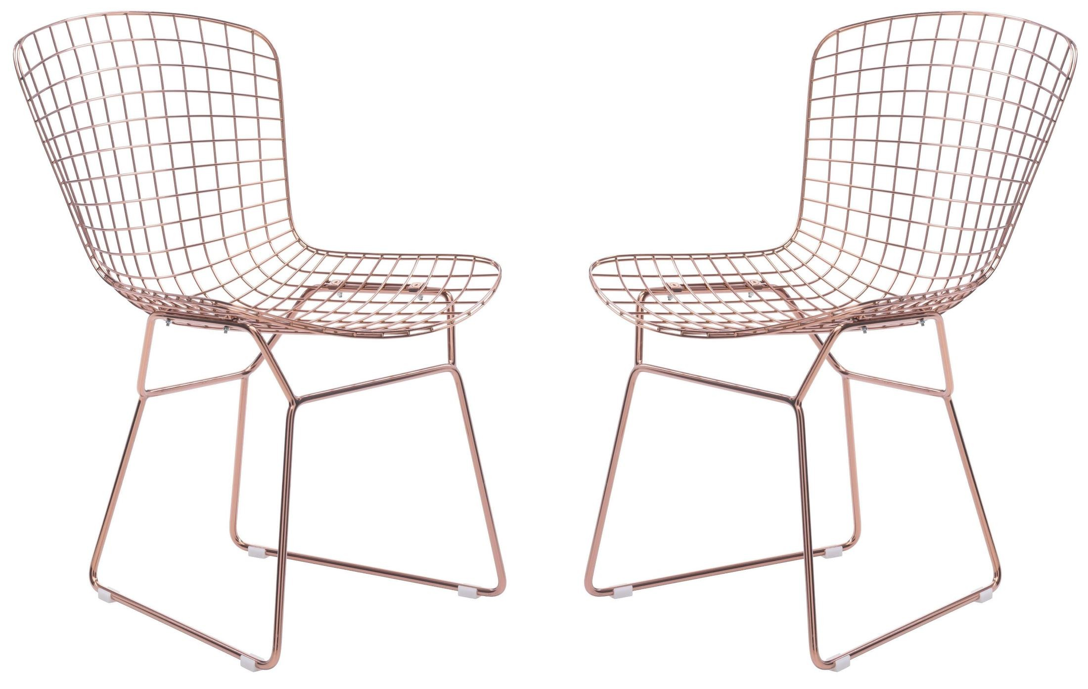 Wire Rose Gold Dining Chair Set of 2 from Zuo Mod 100361