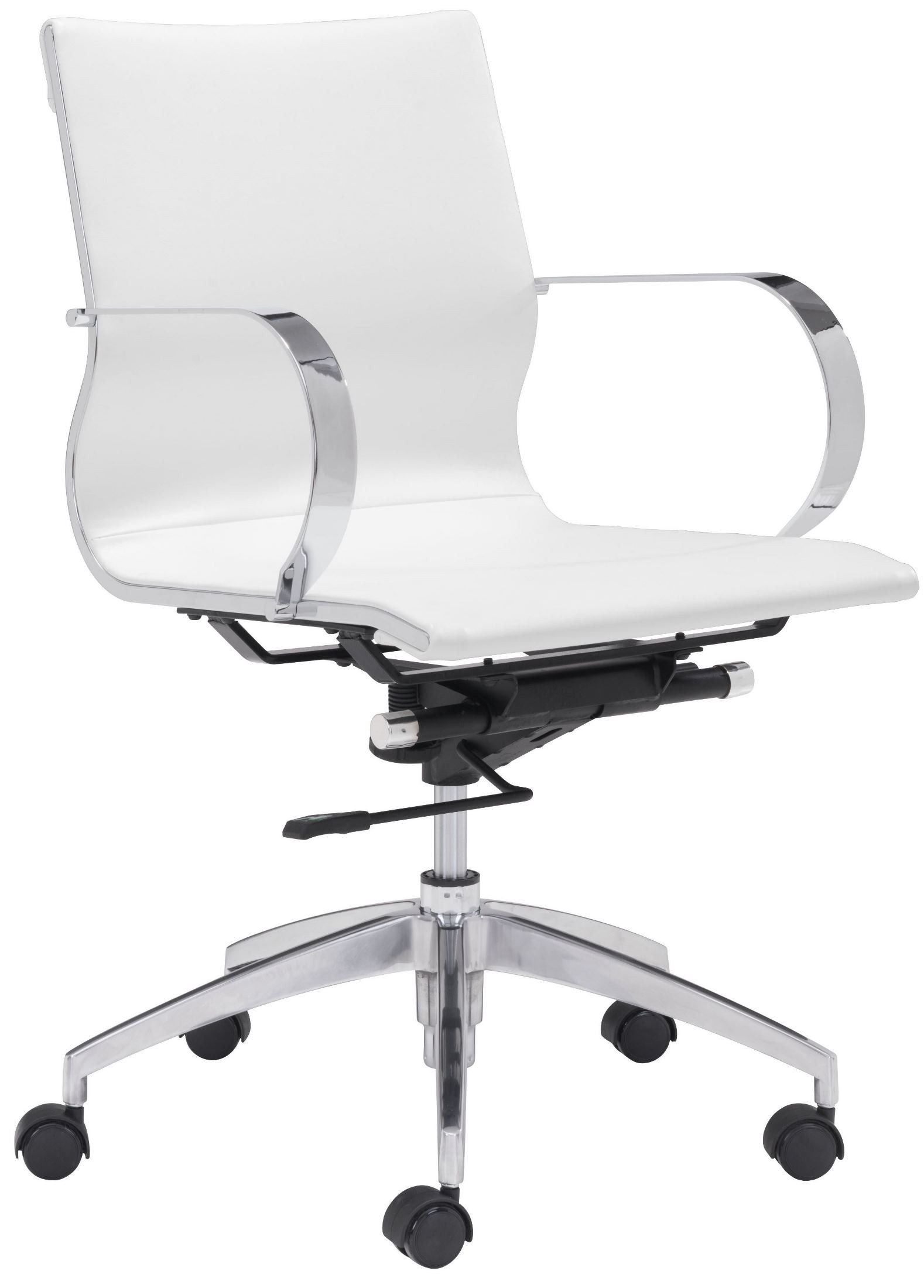 Lower Back Support For Office Chair Glider White Low Back Office Chair From Zuo Mod 100375
