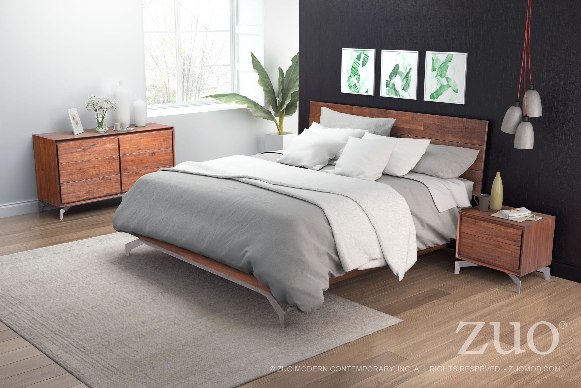 Perth Chestnut Platform Bedroom Set from Zuo  Coleman