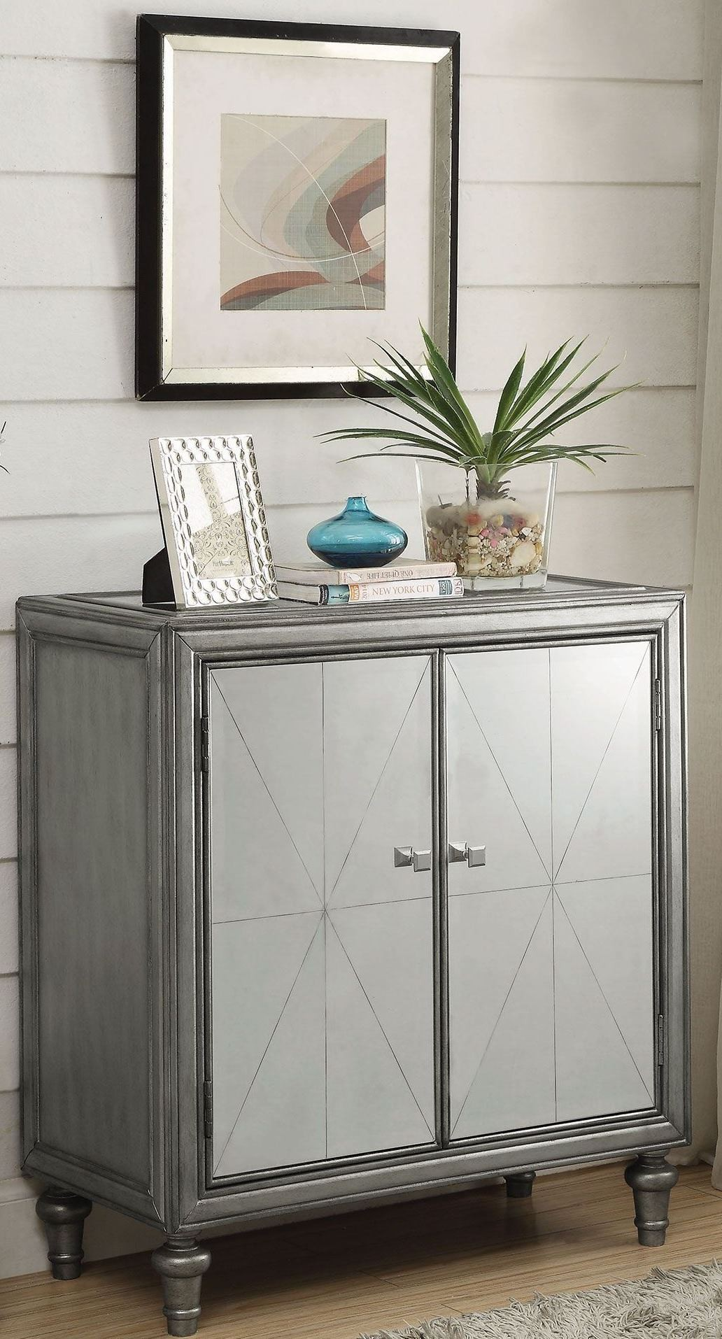 Mirror and Silver Wine Cabinet from Coaster  Coleman