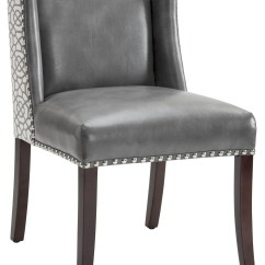 Dining Chair Leather Desk Wood Marlin Grey And Diamond Fabric