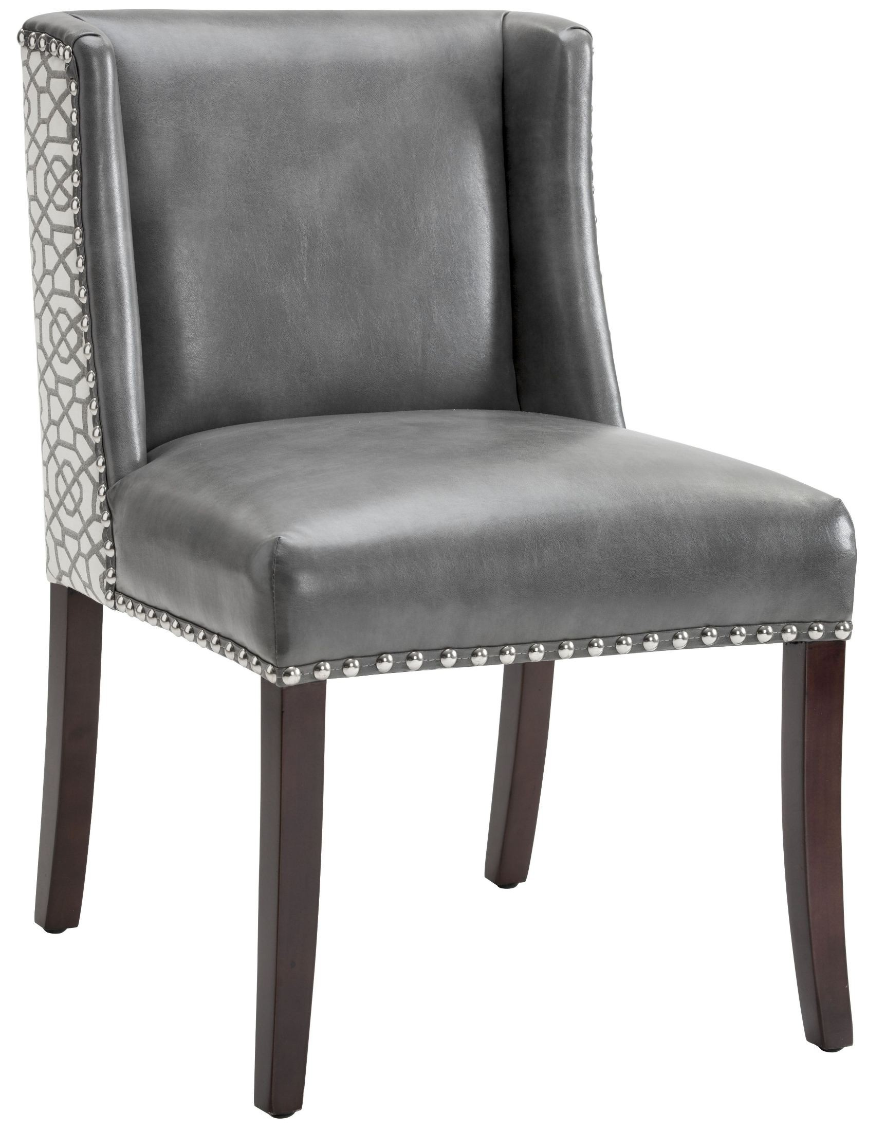 Dining Chair Fabric Marlin Grey Leather And Diamond Fabric Dining Chair Set Of