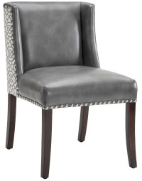 Marlin Grey Leather and Diamond Fabric Dining Chair ...