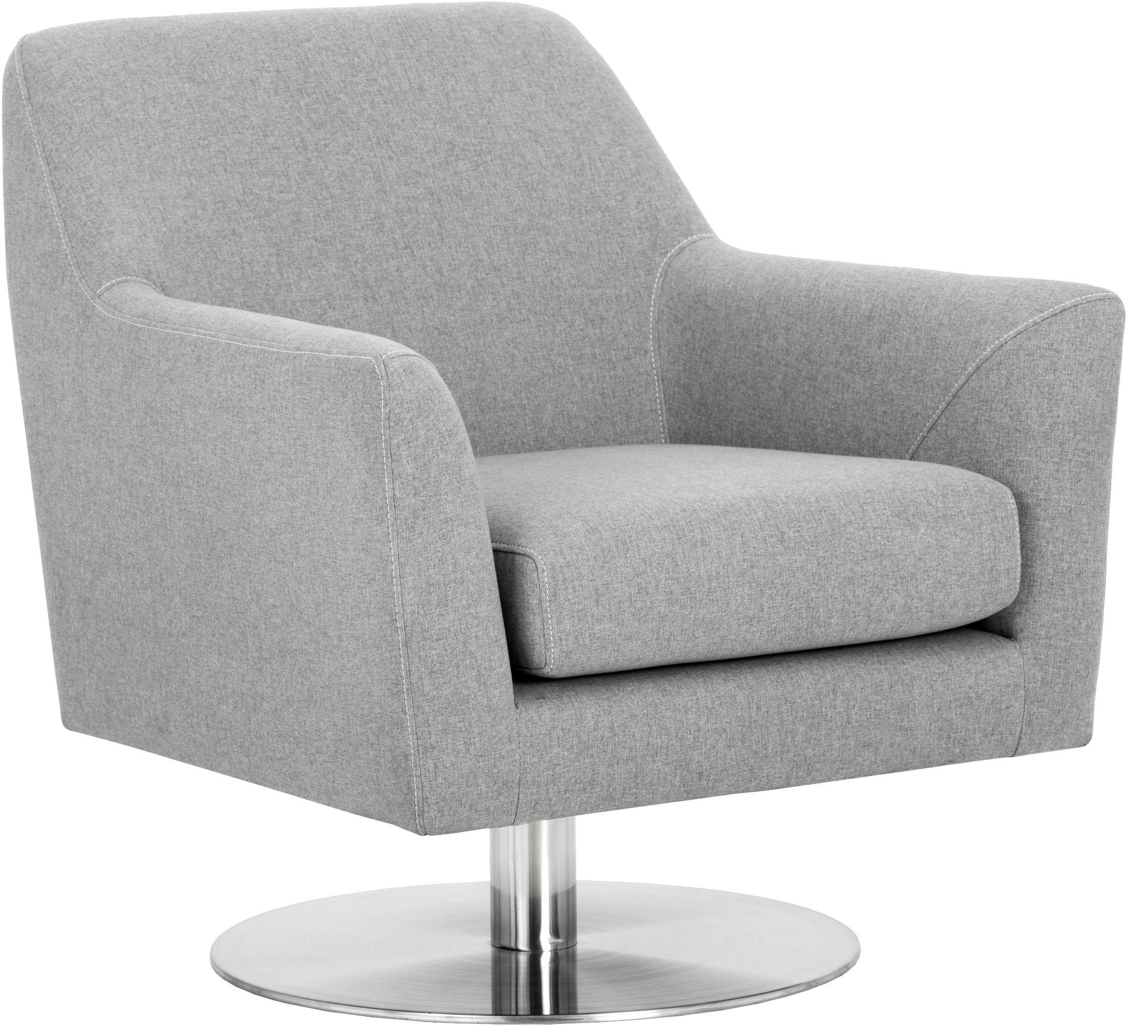 Doris Monday Grey Upholstered Swivel Chair from Sunpan