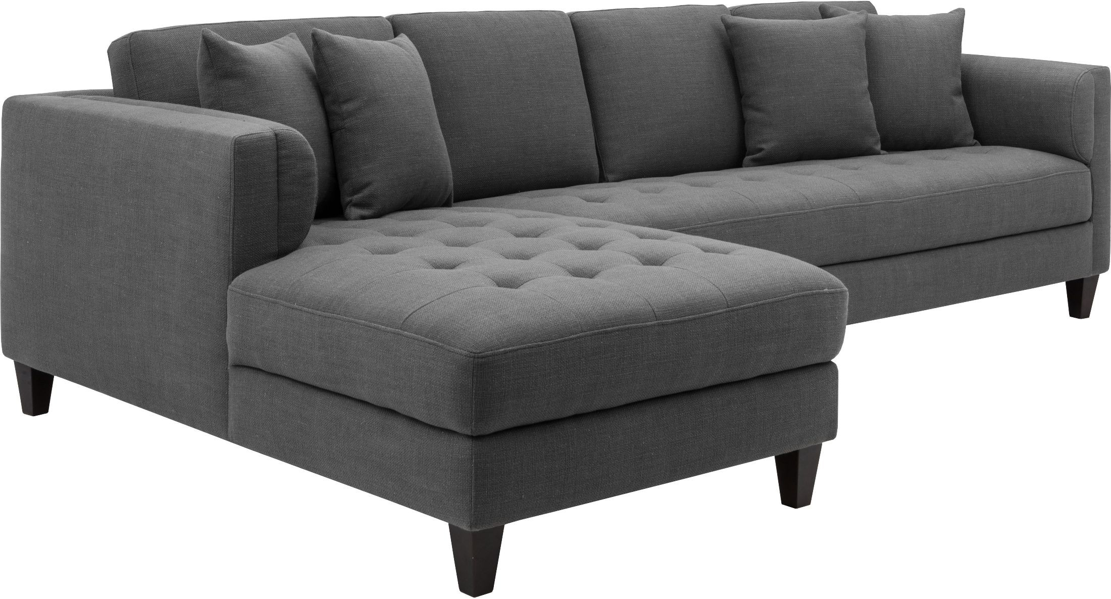 grey tweed sectional sofa very deep arthur upholstered laf chaise from sunpan