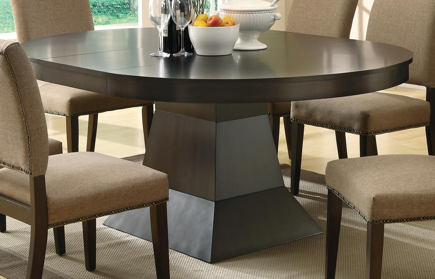 Myrtle Cappuccino Round Extendable Dining Table from