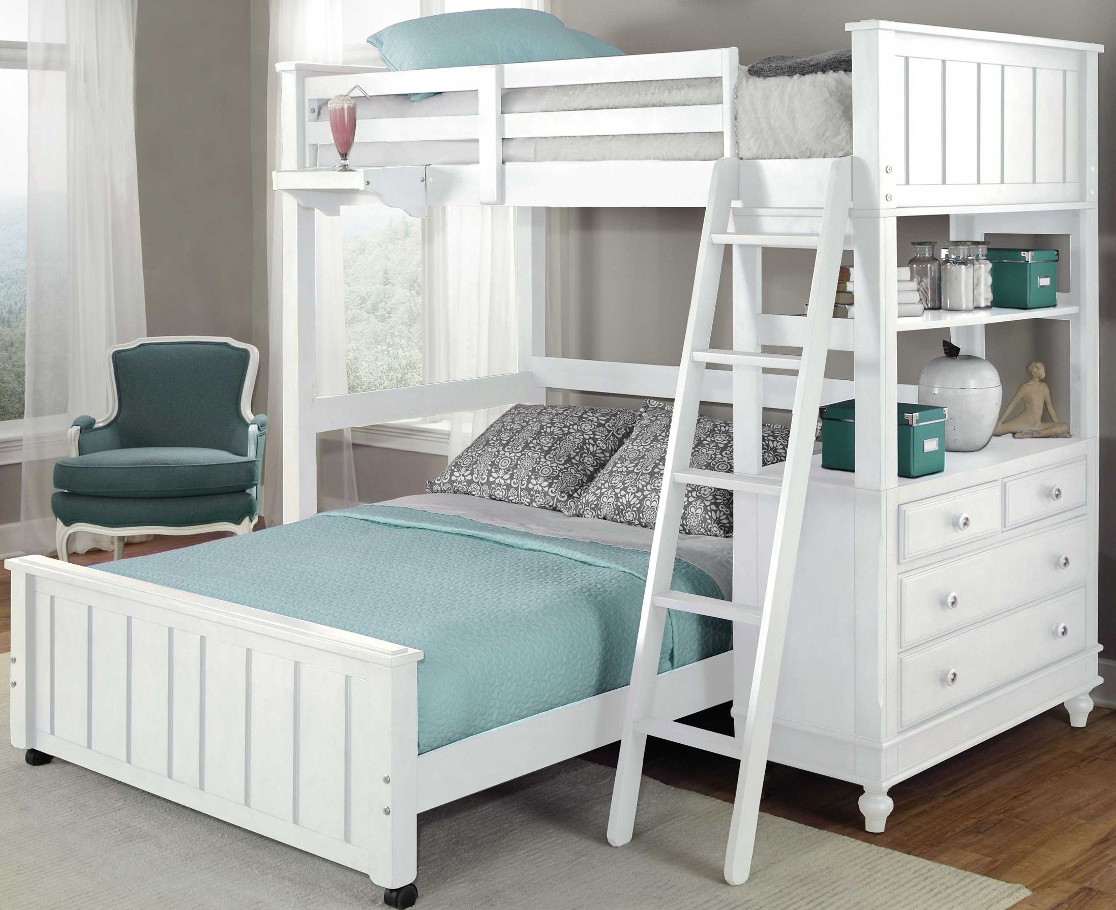 Lake House White Twin Loft Bed with Full Lower Bed from NE Kids  Coleman Furniture