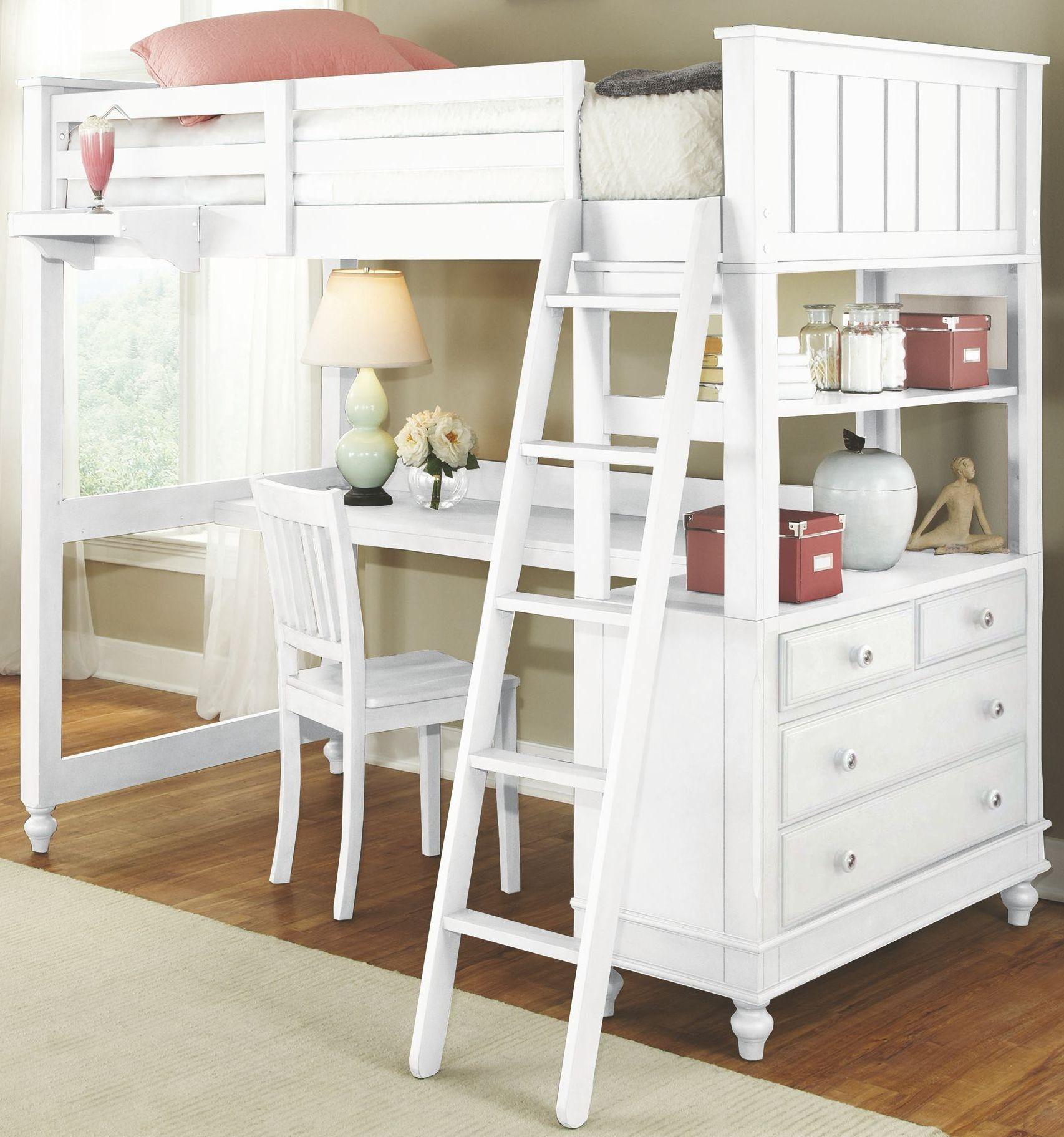 Lake House White Full Loft Bed with Desk from NE Kids