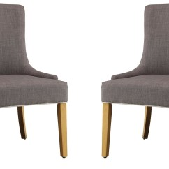 Grey Upholstered Chair Bar Height Patio Table And Chairs White Side Set Of 2 104566