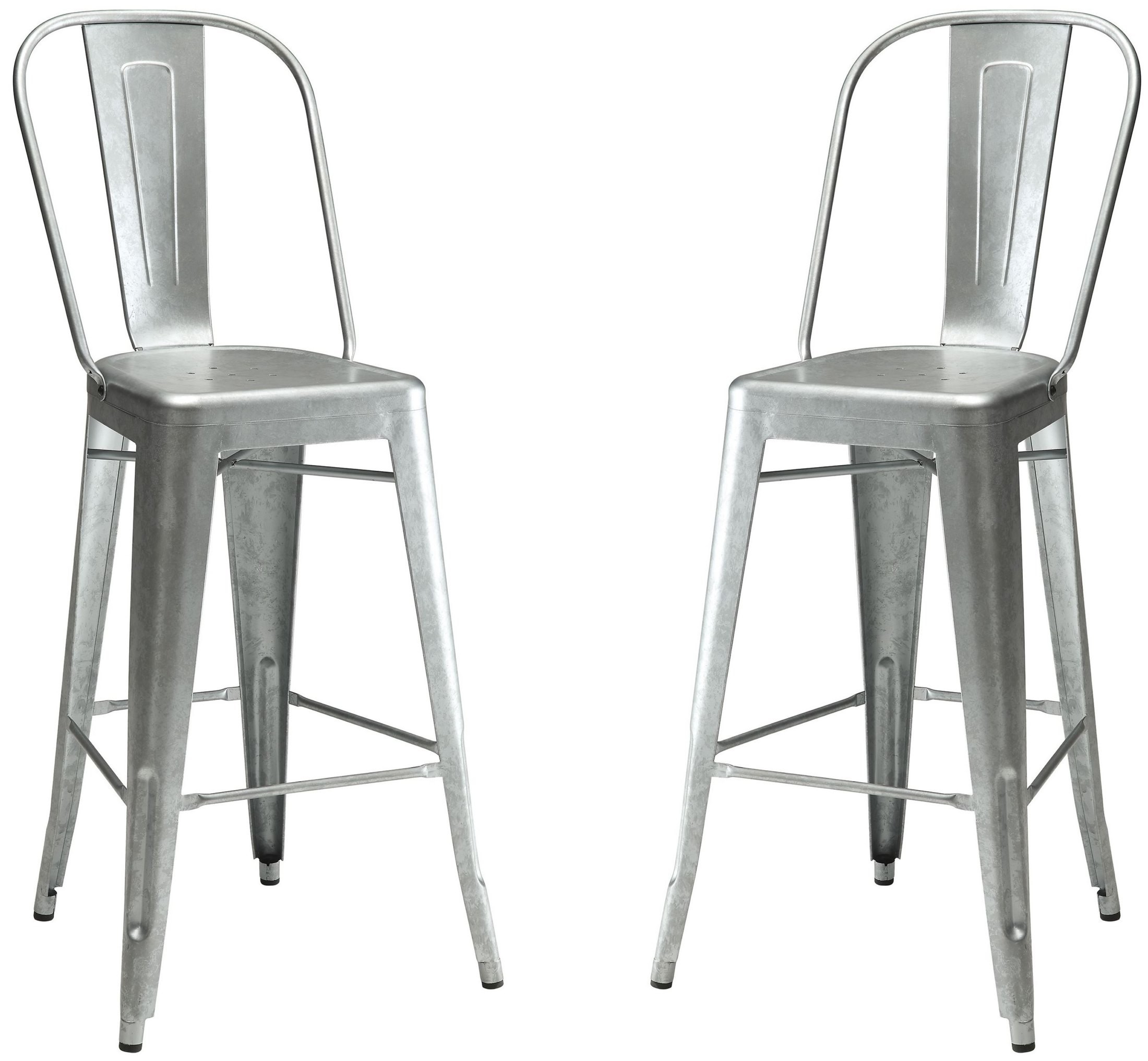 Galvanized Steel Chairs Galvanized Metal Bar Stool Set Of 2 From Coaster Coleman