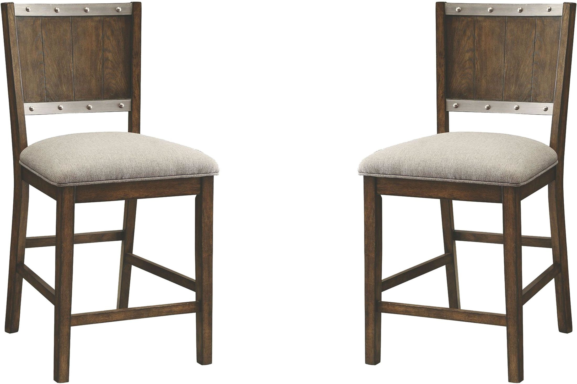 upholstered counter height chair white spandex covers canada beckett dark oak stool set of 2