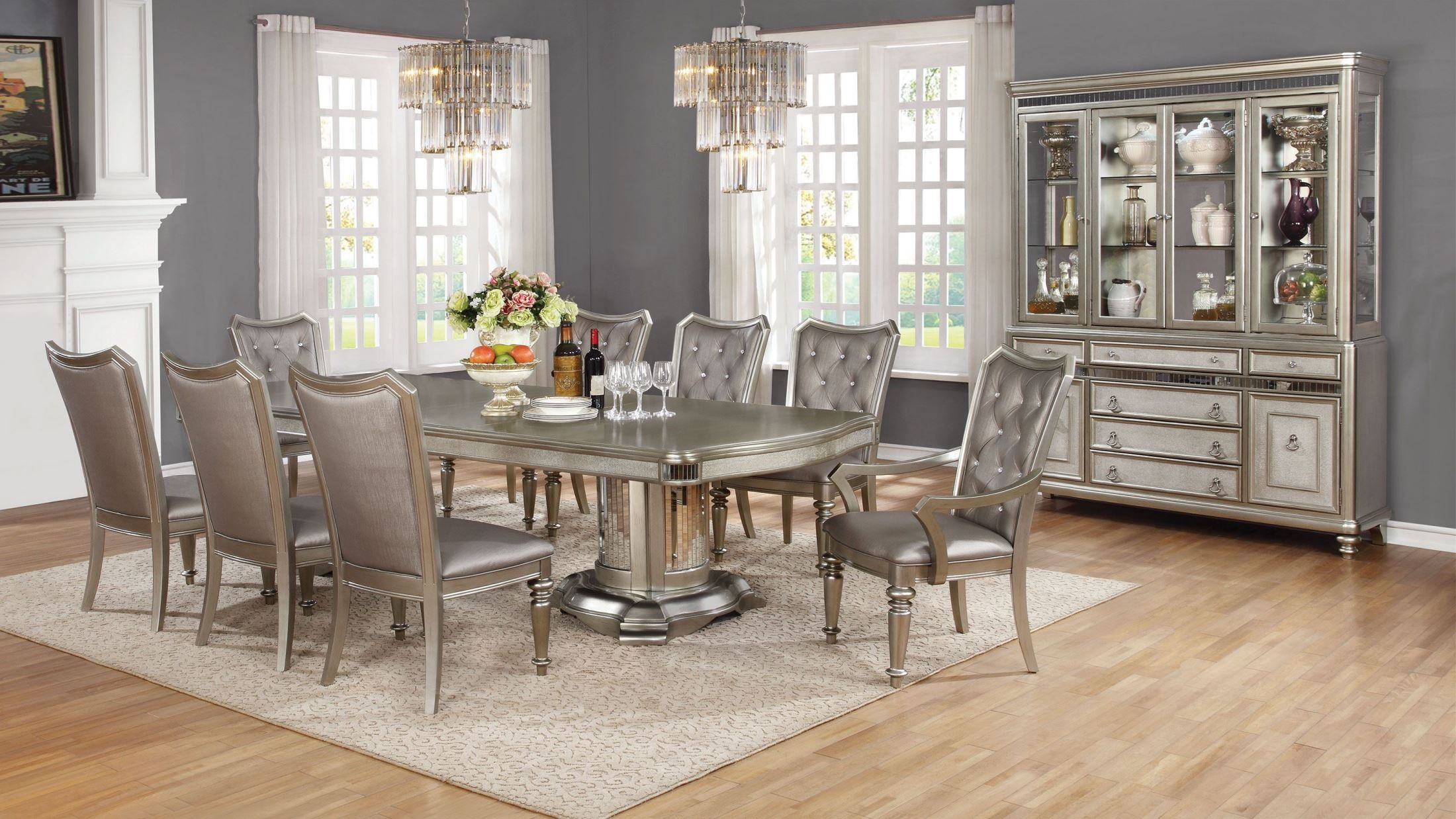 Danette Metallic Platinum Dining Room Set 107311 Coaster