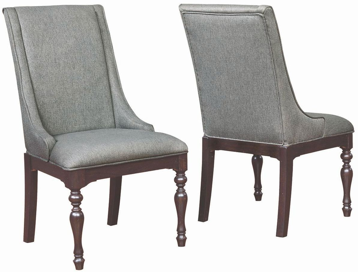 grey upholstered chair covers leicester leon side set of 2 from coaster