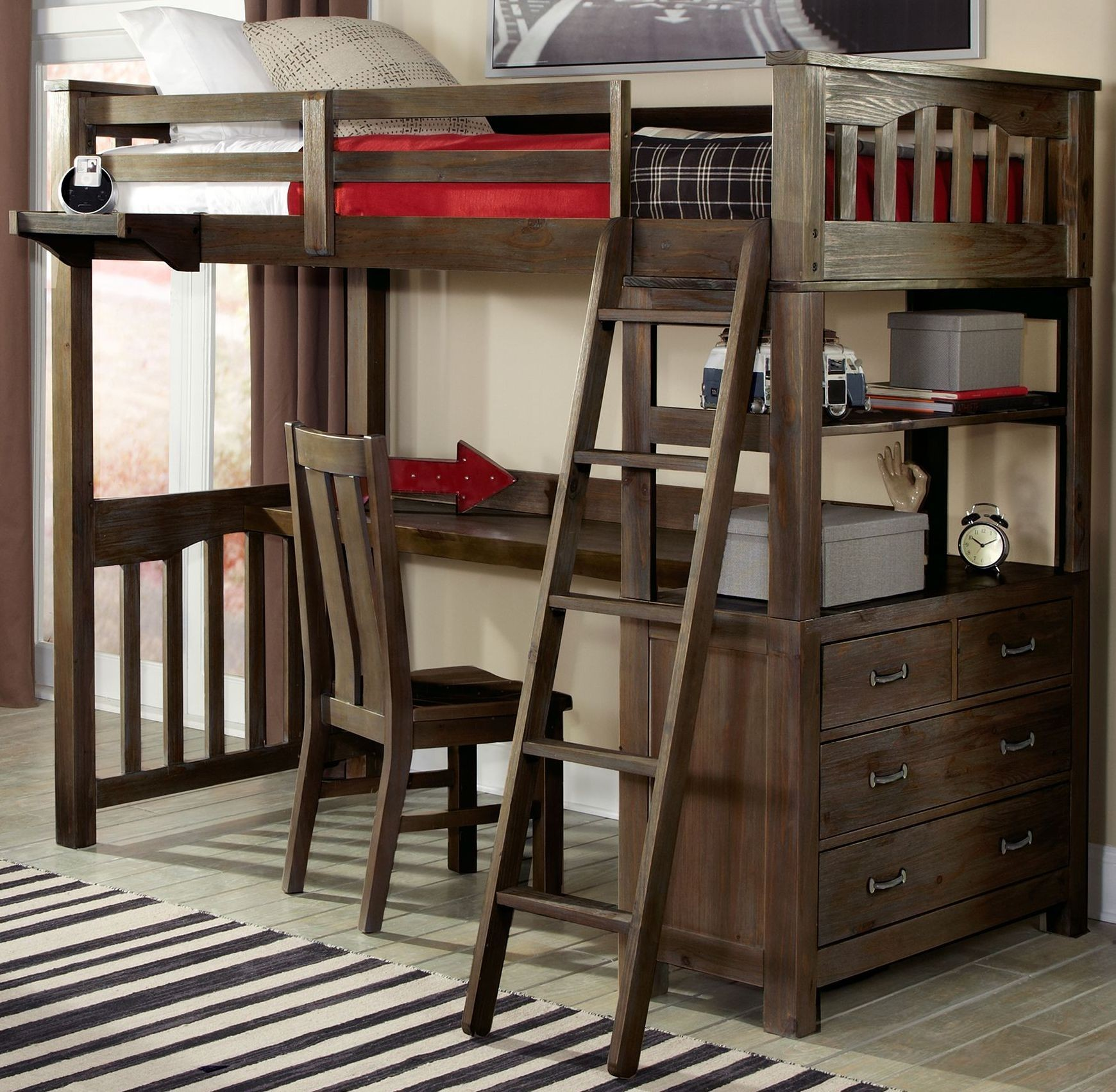 loft bed with desk and futon chair cover rental orlando fl highlands espresso twin from