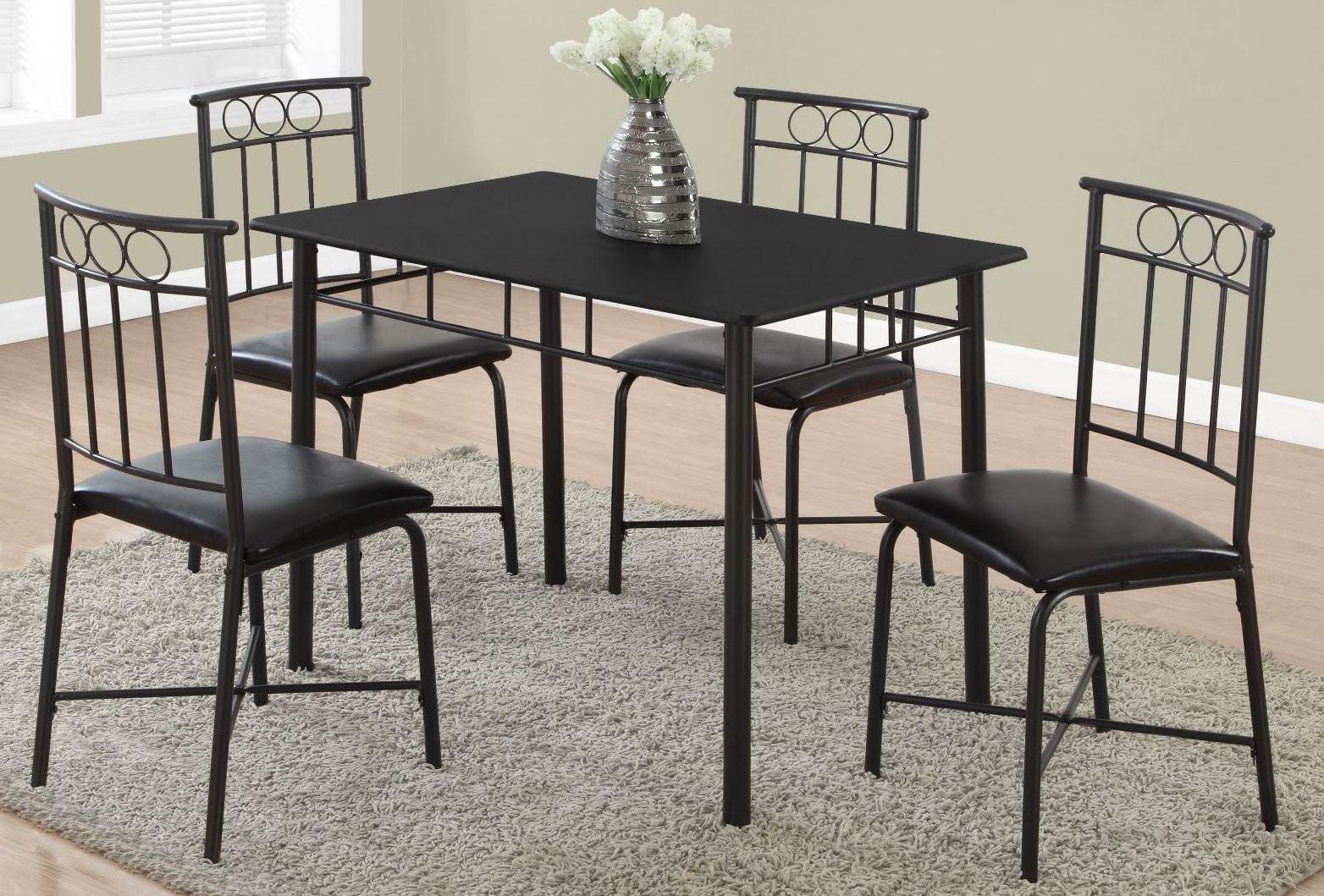 Black Metal 5 Piece Dining Room Set 1018 Monarch
