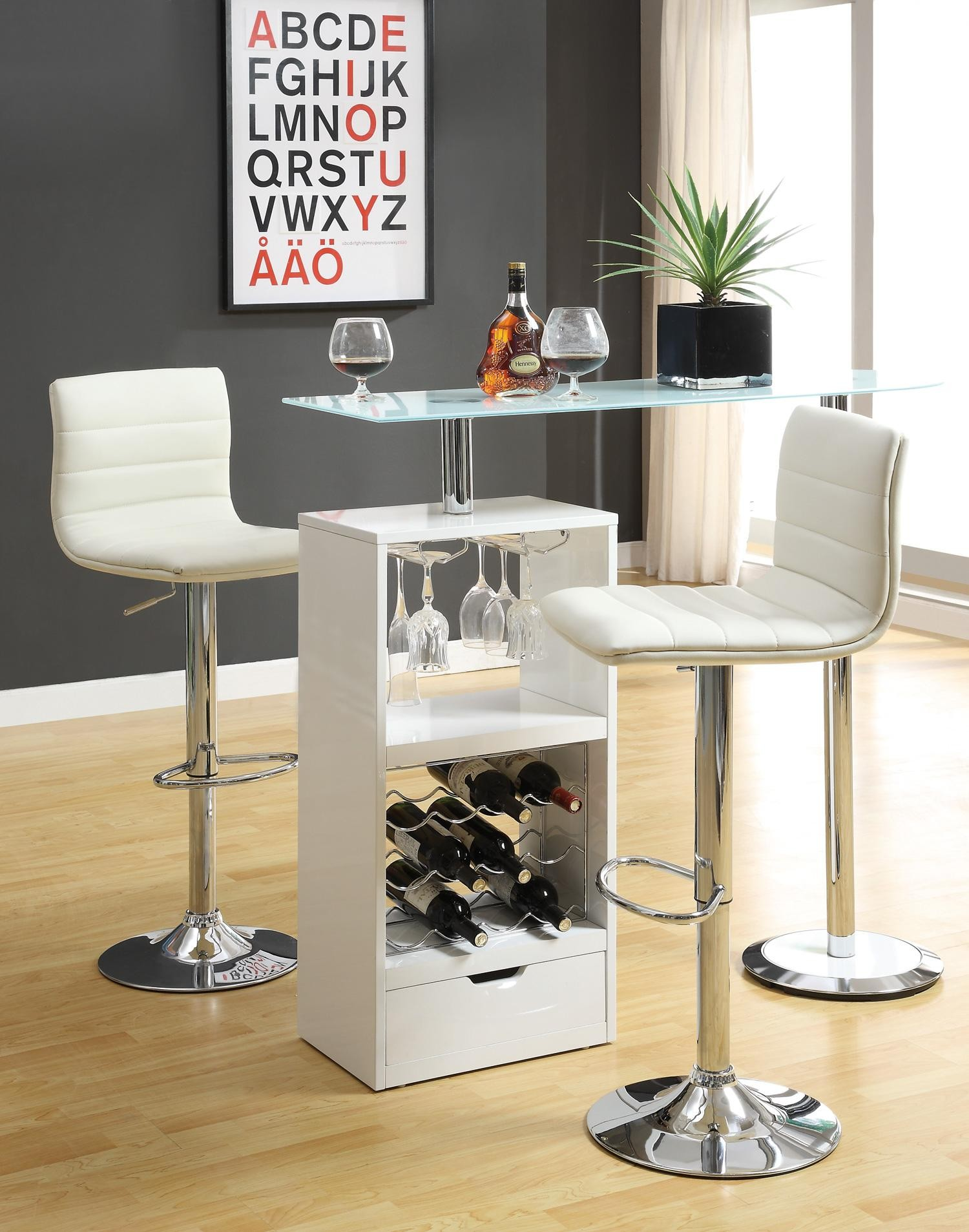 revolving chair with net covers gold white bar set 120452 from coaster