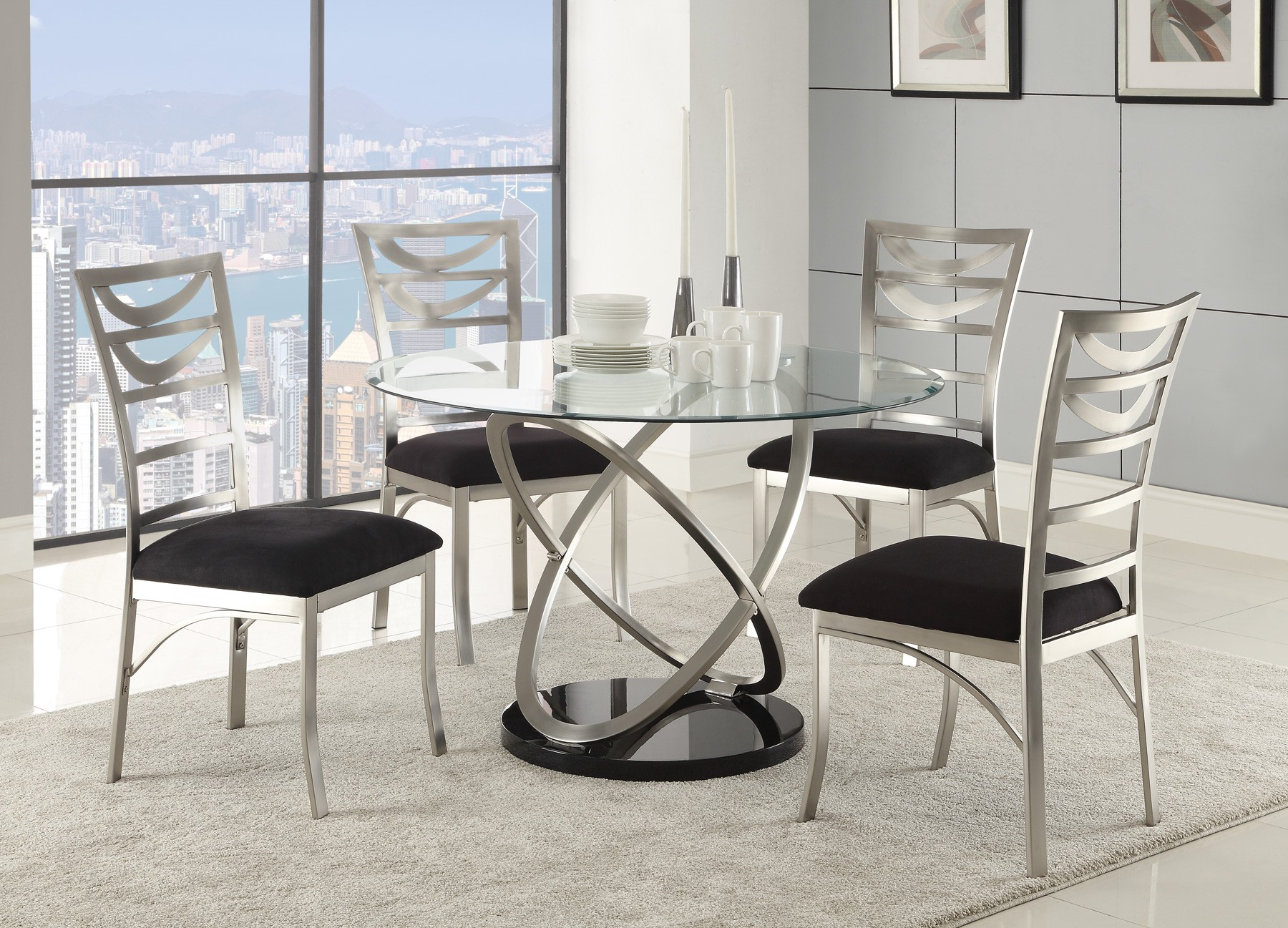 silver metal dining chairs bedroom chair size tapia room set 121041 coaster furniture