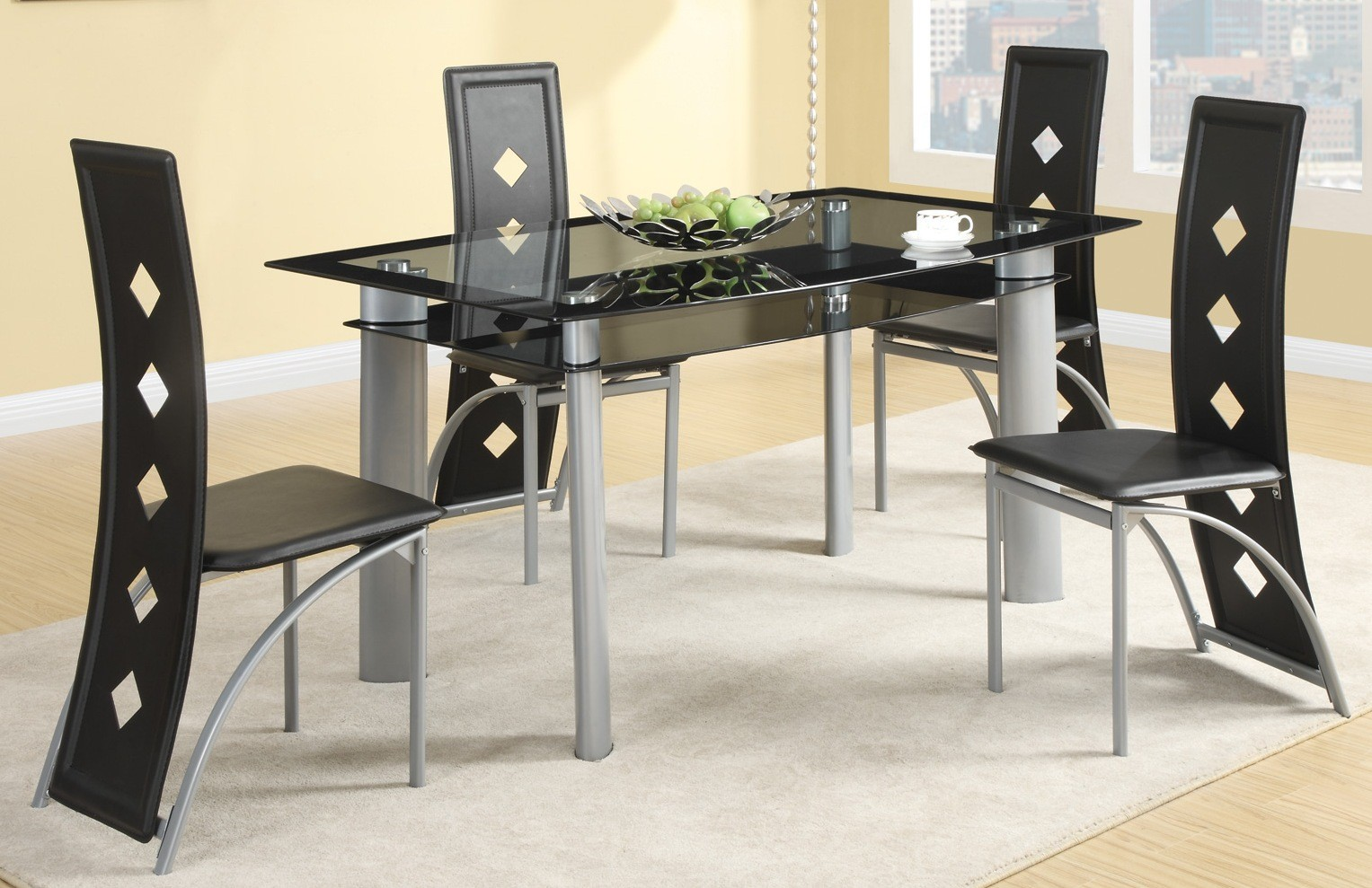 silver metal dining chairs tropitone lounge fontana room set from coaster 121051