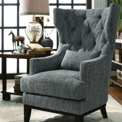 Accent Chair Gray Plaid Wingback Adriano Dark Grey Fabric From Homelegance