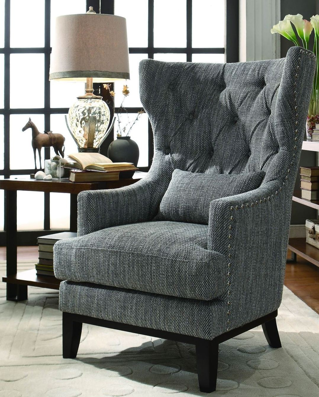 Grey Accent Chairs Adriano Dark Grey Fabric Accent Chair From Homelegance