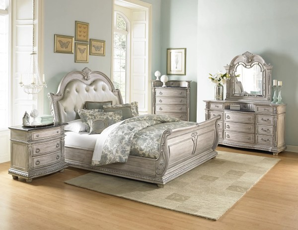 Palace Ii White Wash Bonded Leather Sleigh Bedroom Set Homelegance 1394n-1 Coleman