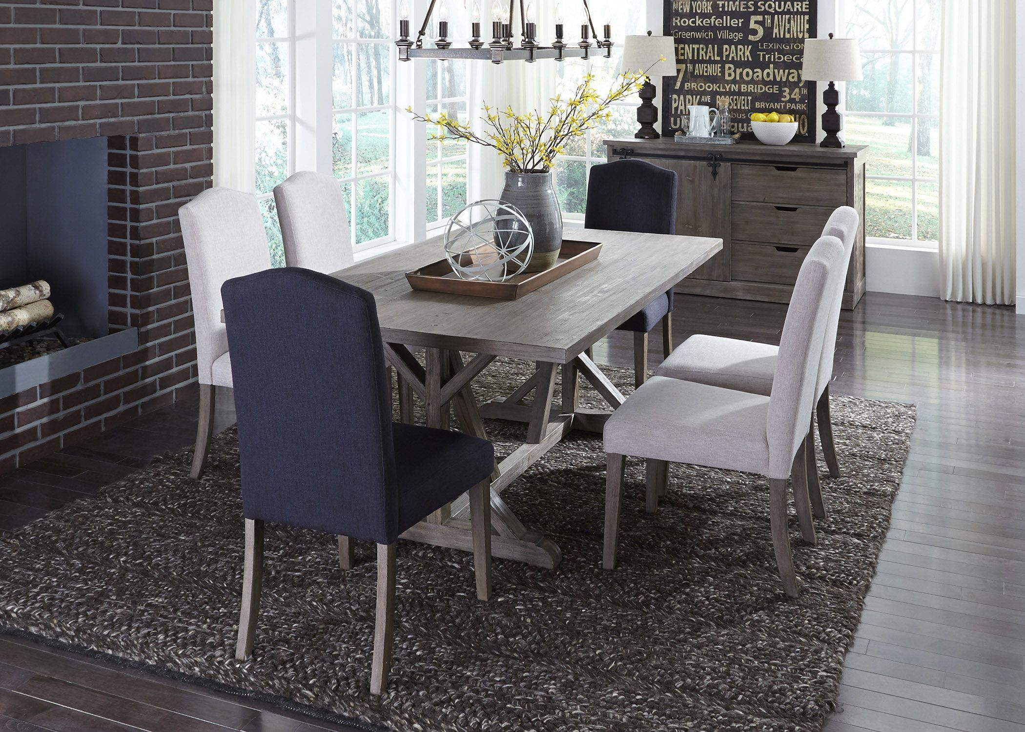Gray Dining Room Chairs Carolina Lakes Gray Trestle Dining Room Set From Liberty