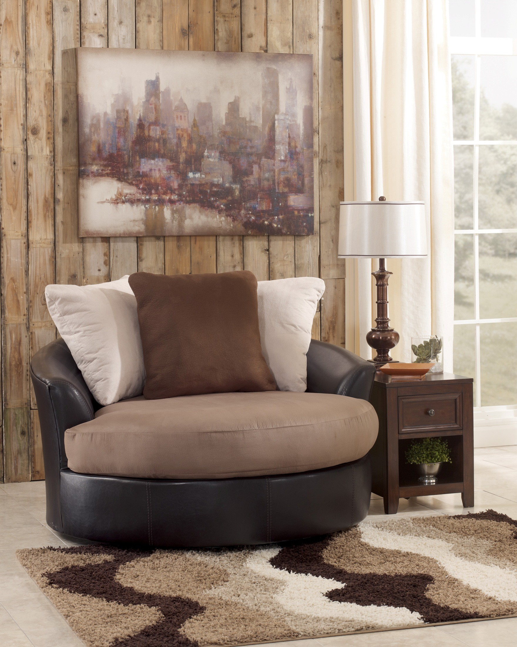 Oversized Accent Chair Masoli Mocha Oversized Swivel Accent Chair From Ashley