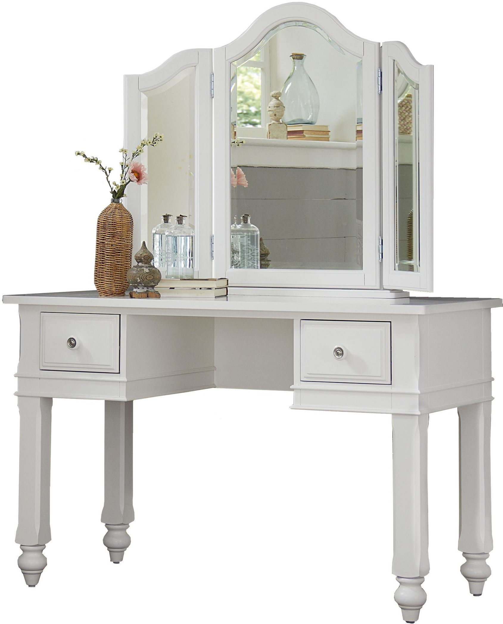 Lake House White Writing Desk with Vanity Mirror from NE