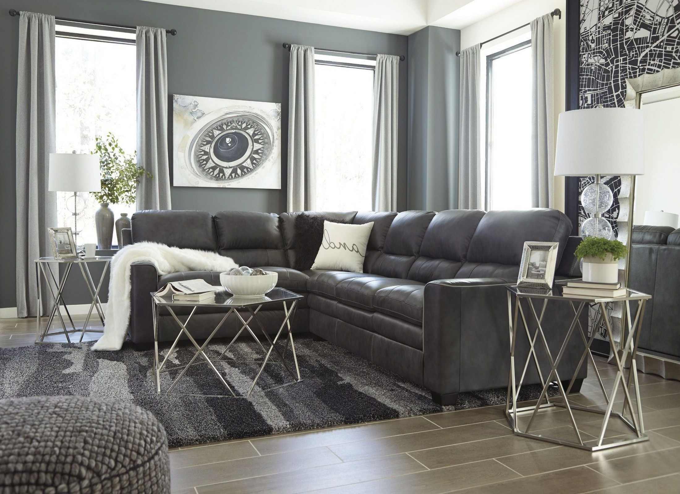 sectional sofa corner wedge mah jong preis gleason charcoal raf from ashley | coleman furniture