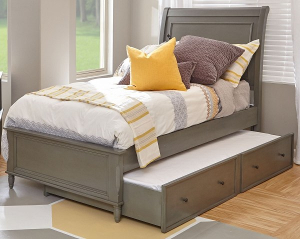 Grey Twin Bed with Trundle