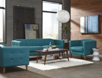 Miami Teal Leather Living Room Set from Lazzaro