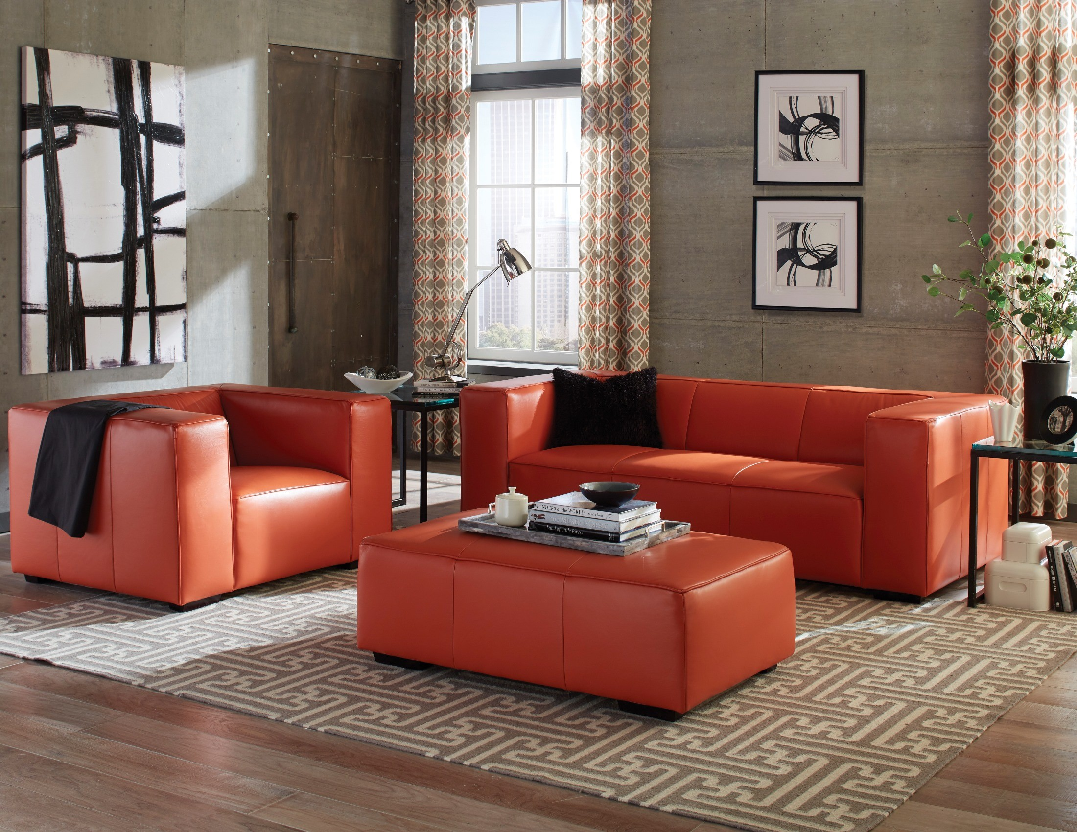 tangerine sofa ashley sleeper and loveseat hayden top grain leather living room set from