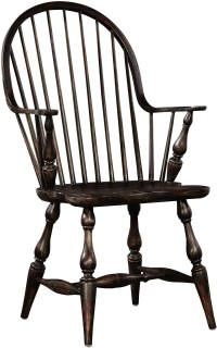 Windsor Rubbed Black Arm Chair, 1726I4, Furniture Classics