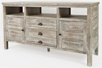 """Artisan's Craft 60"""" Washed Gray Media Console from Jofran ..."""