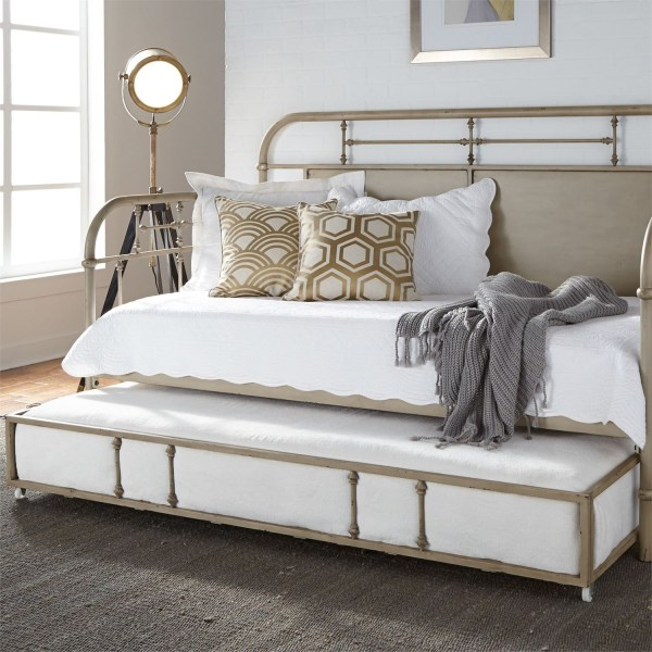 Vintage Distressed White Twin Metal Daybed With