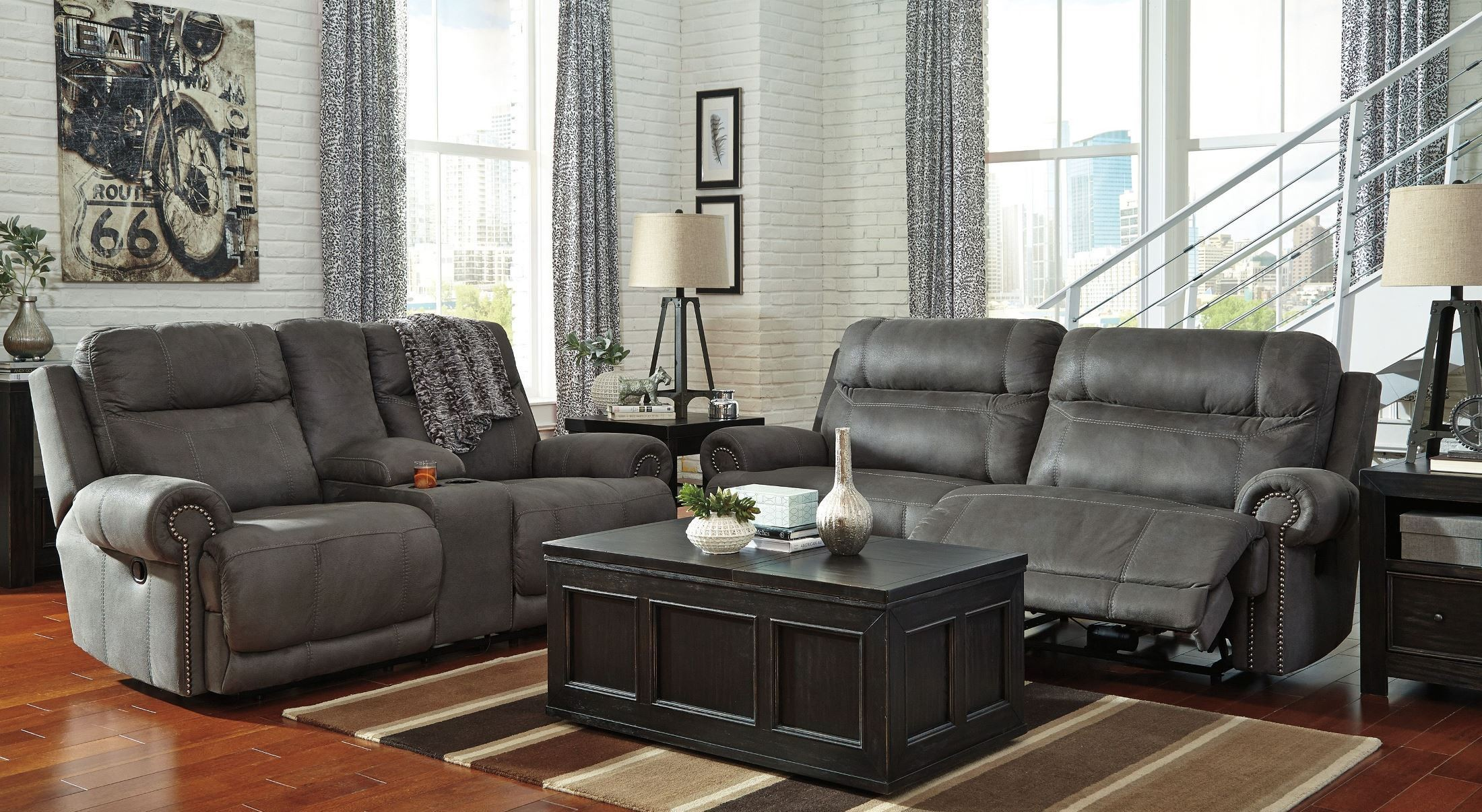 Grey Living Room Chairs Austere Gray Reclining Living Room Set From Ashley