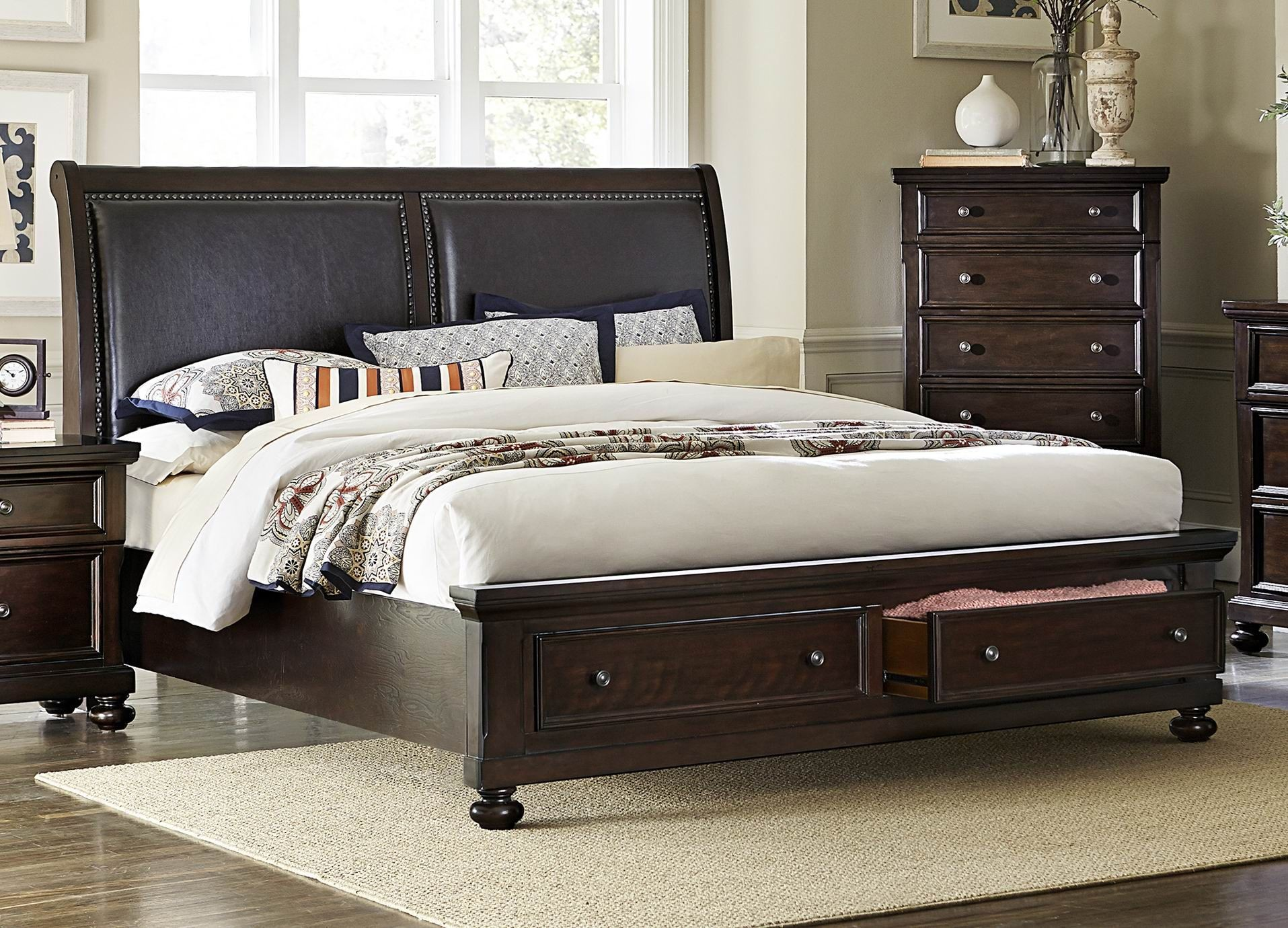 Faust Dark Cherry Cal King Storage Platform Bed From