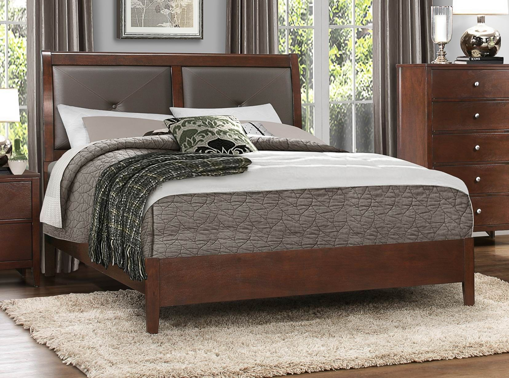 Cullen Brown Cherry Vinyl King Platform Bed From