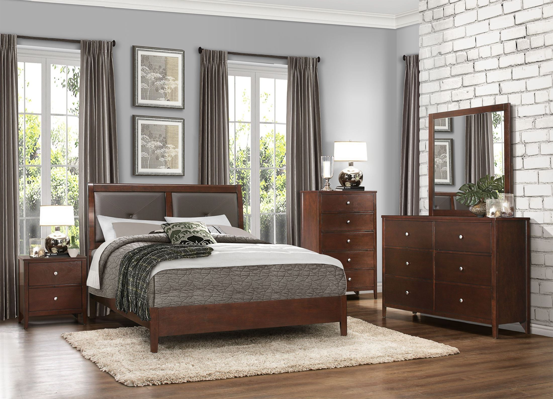 Cullen Brown Cherry Vinyl Cal King Platform Bed From