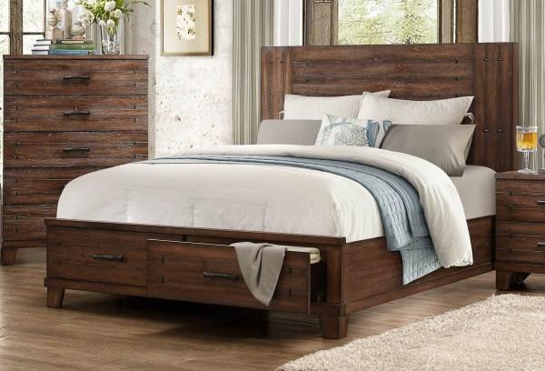 Wood Queen Platform Bed with Storage