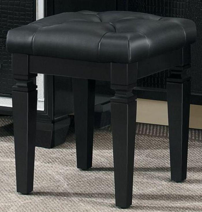 Allura Black Vanity Stool from Homelegance  Coleman Furniture